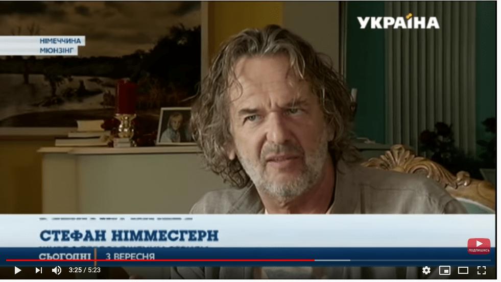 Stefan Nimmesgern on Ukrainian television: The well-known television presenter Zoriana Stepanenko visited Stefan for an interview in his Munich South studio in Ammerland on Lake Starnberg.